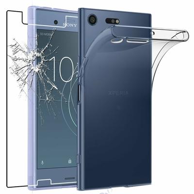 Coque Housse Etui Ultra Slim TPU Transparent + Film Protection Verre Trempe pour Sony Xperia XZ1 Compact