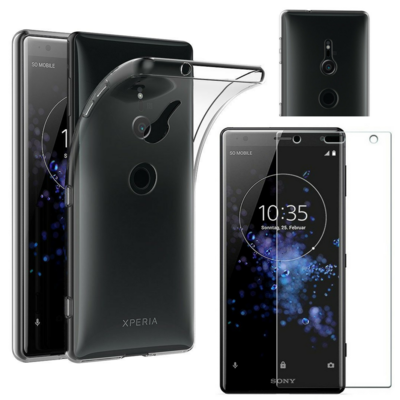Coque Housse Etui Ultra Slim TPU Transparent + Film Protection Verre Trempe pour Sony Xperia XZ2