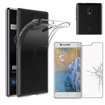 Coque Housse Etui Ultra Slim TPU Transparent + Film Protection Verre Trempe pour Nokia 3