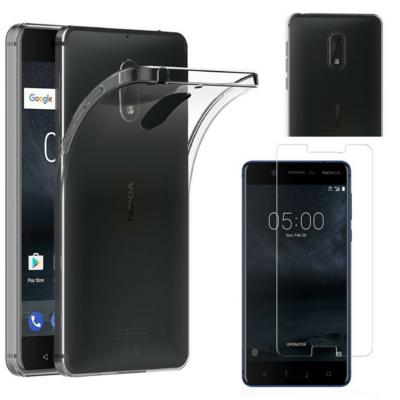 Coque Housse Etui Ultra Slim TPU Transparent + Film Protection Verre Trempe pour Nokia 6