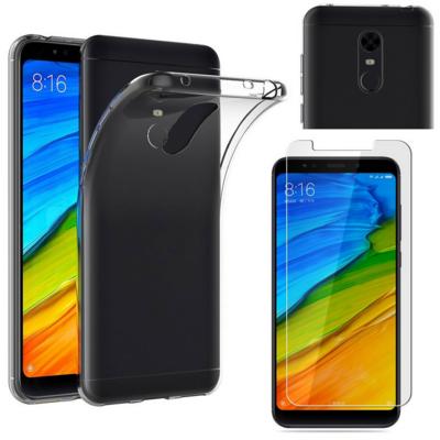 Coque Housse Etui Ultra Slim TPU Transparent + Film Protection Verre Trempe pour Xiaomi REDMI 5 PLUS