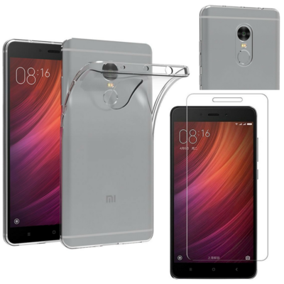 Coque Housse Etui Ultra Slim TPU Transparent + Film Protection Verre Trempe pour Xiaomi REDMI NOTE 4X