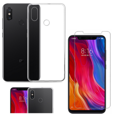 Coque Housse Etui Ultra Slim TPU Transparent + Film Protection Verre Trempe pour Xiaomi MI 8