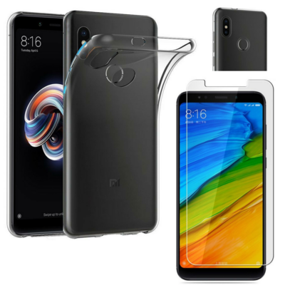 Coque Housse Etui Ultra Slim TPU Transparent + Film Protection Verre Trempe pour Xiaomi REDMI NOTE 5