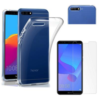 Coque Housse Etui Ultra Slim TPU Transparent + Film Protection Verre Trempe pour Huawei Y6 2018