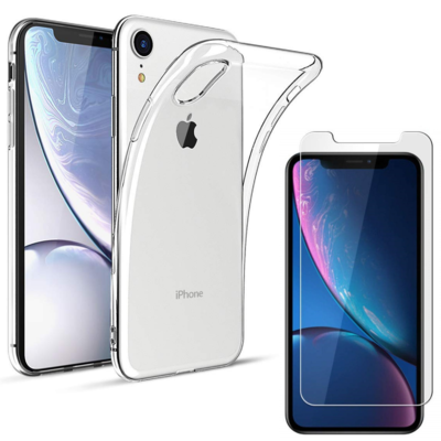 Coque TPU Ultra Slim + Film Protection Verre Trempe pour Apple iPhone XR