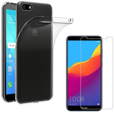 Coque Housse Etui Ultra Slim TPU Transparent + Film Protection Verre Trempe pour Huawei Y5 2018