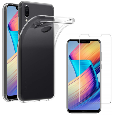 Coque Housse Etui Ultra Slim TPU Transparent + Film Protection Verre Trempe pour Huawei HONOR PLAY