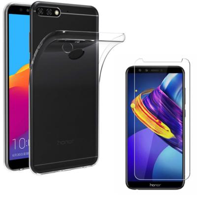 Coque Housse Etui Ultra Slim TPU Transparent + Film Protection Verre Trempe pour Huawei Y7 PRIME 2018