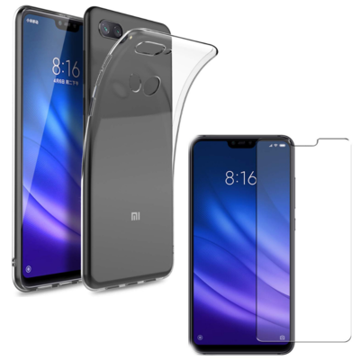 Coque Housse Etui Ultra Slim TPU Transparent + Film Protection Verre Trempe pour Xiaomi MI 8 LITE