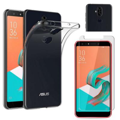 Coque Housse Etui Ultra Slim TPU Transparent + Film Protection Verre Trempe pour Asus Zenfone 5 LITE ZC600KL