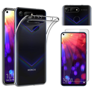 Coque Housse Etui Ultra Slim TPU Transparent + Film Protection Verre Trempe pour Huawei HONOR VIEW 20