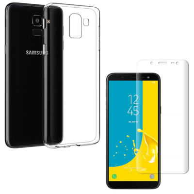 Coque Housse Etui Ultra Slim TPU Transparent + Film Protection Verre Trempe Intégral pour Samsung Galaxy J6 2018