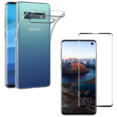 Coque Ultra Slim TPU Transparent + Verre Trempe bord Noir pour Samsung Galaxy S10