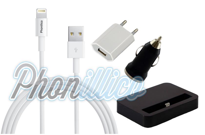 pack chargeur 4 en 1 pour apple iphone 7 plus apple iphone 7 plus phonillico. Black Bedroom Furniture Sets. Home Design Ideas