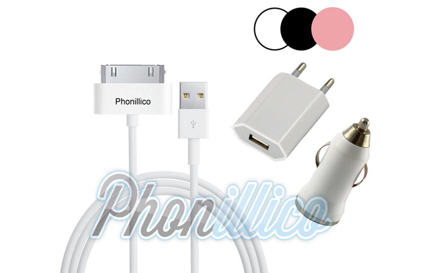 pack chargeur 3 en 1 pour apple iphone 4 4s apple iphone 4 4s phonillico. Black Bedroom Furniture Sets. Home Design Ideas
