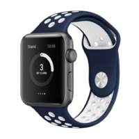 Bracelet en silicone sport bleu pour Apple Watch 42/44mm