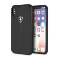Coque Ferrari cuir noir iPhone X XS