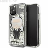 Coque Karl iPhone 11 pro Lagerfeld Choupette paillettes flottantes argentées