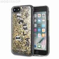Coque Karl iPhone paillettes flottantes dorées 7 8 SE 2020