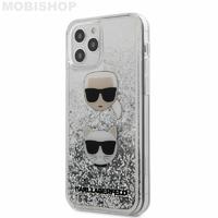 Coque Karl iPhone 12 / 12 Pro paillettes flottantes argentées
