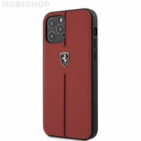 Coque Ferrari iPhone 12 / 12 Pro cuir rouge