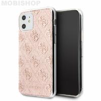 Coque Guess bi-matière à paillettes roses iPhone 11