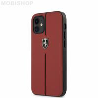 Coque Ferrari iPhone 12 Mini cuir rouge liseret noir