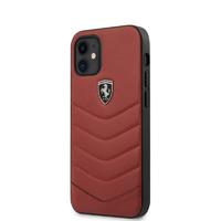 Coque Ferrari iPhone 12 Mini cuir rouge matelassé