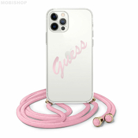 Coque Guess cordon rose iPhone 12 Pro Max