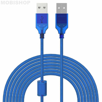 Rallonge USB 2.0 Type A mâle / mâle - 3m Bleu