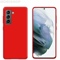Coque silicone Galaxy S21 rouge
