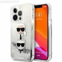 Coque Karl iPhone 13 Pro paillettes flottantes argentées