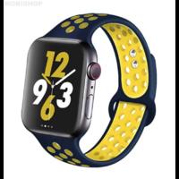 Bracelet en silicone bleu et jaune pour Apple Watch 38/40mm