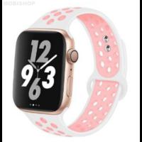 Bracelet en silicone blanc et rose pour Apple Watch 38/40mm