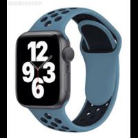 Bracelet en silicone bleu et noir pour Apple Watch 42/44mm