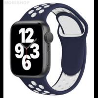 Bracelet en silicone bleu et blanc pour Apple Watch 38/40mm