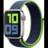 Bracelet nylon bleu et vert fluo pour Apple Watch 42/44mm