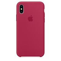 Coque Apple en silicone pour iPhone X - Rose rouge