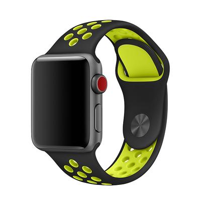 Bracelet en silicone sport noir vert saint-etienne pour Apple Watch 42:44mm