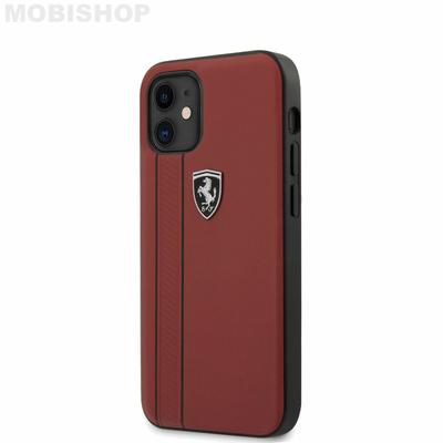 coque-cuir-rouge-effet-graine-avec-double-trait-noire-pour-apple-iphone-12-54-ferrari-saint-etienne-mobishop