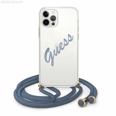coque-bi-matiere-transparente-souple-avec-laniere-et-logo-vintage-bleu-guess-pour-apple-iphone-12-12-pro-guess