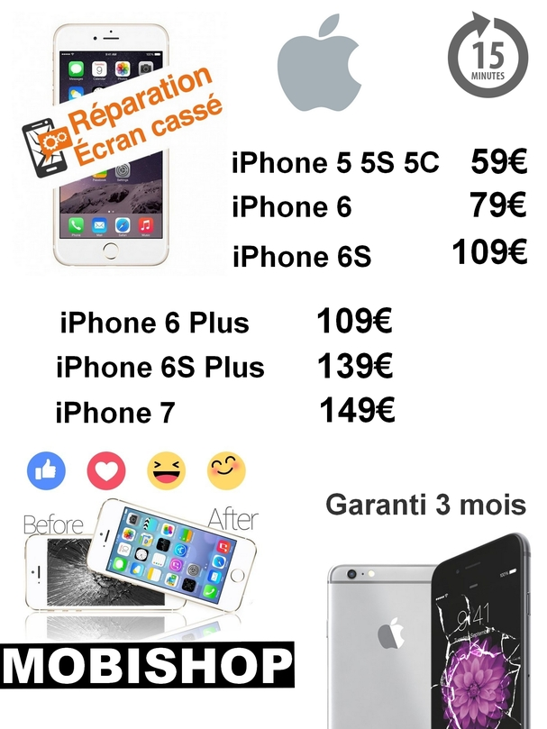 r paration cran iphone en 15 minutes chez mobishop saint etienne actualit s mobishop. Black Bedroom Furniture Sets. Home Design Ideas