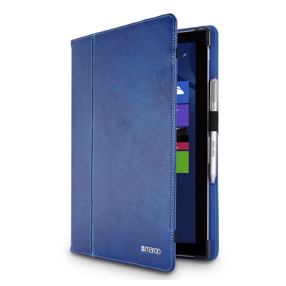 Folio etui surface pro 4 executive cuir v ritable bleu for Housse surface pro 4
