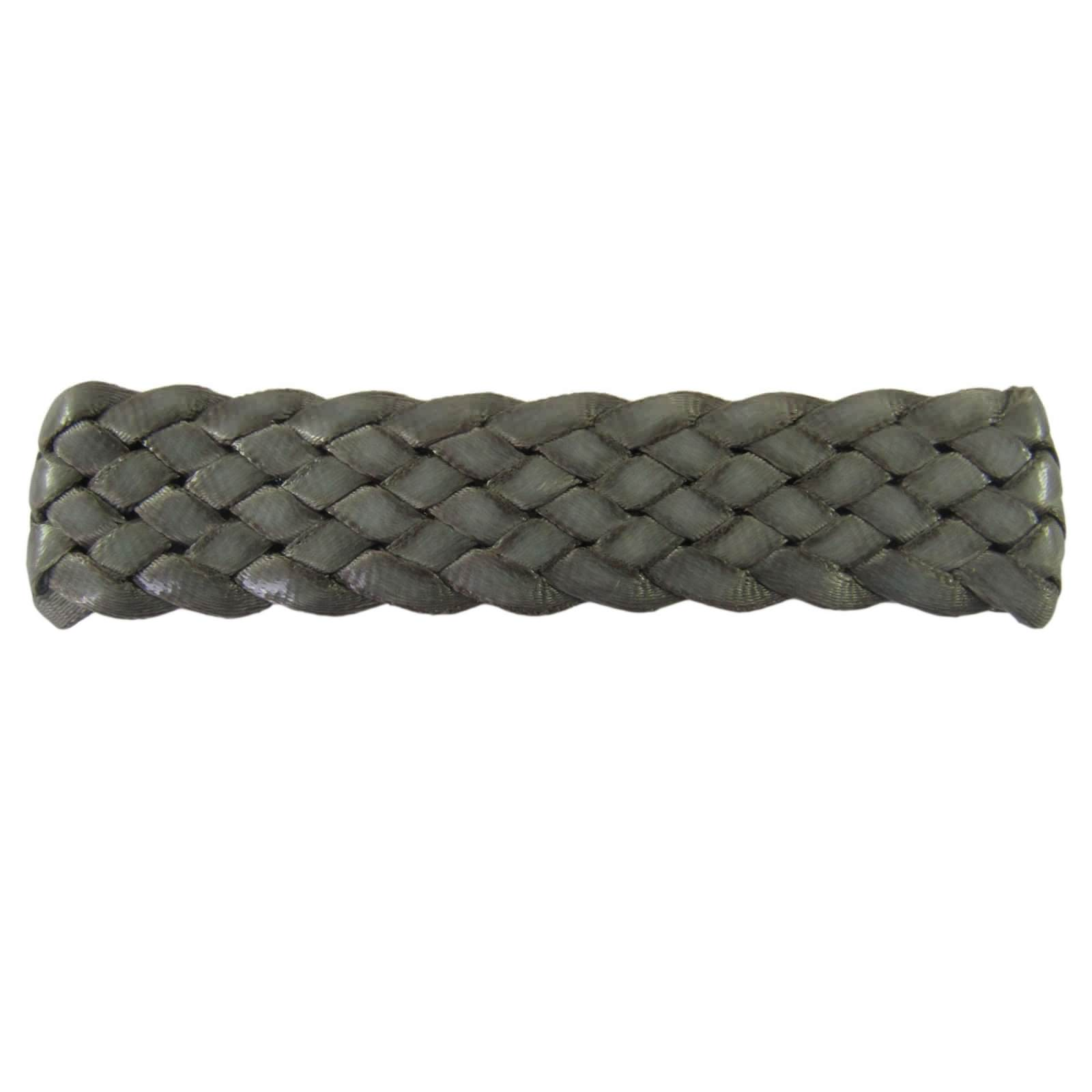 barrette tressée  cuir taupe (1)