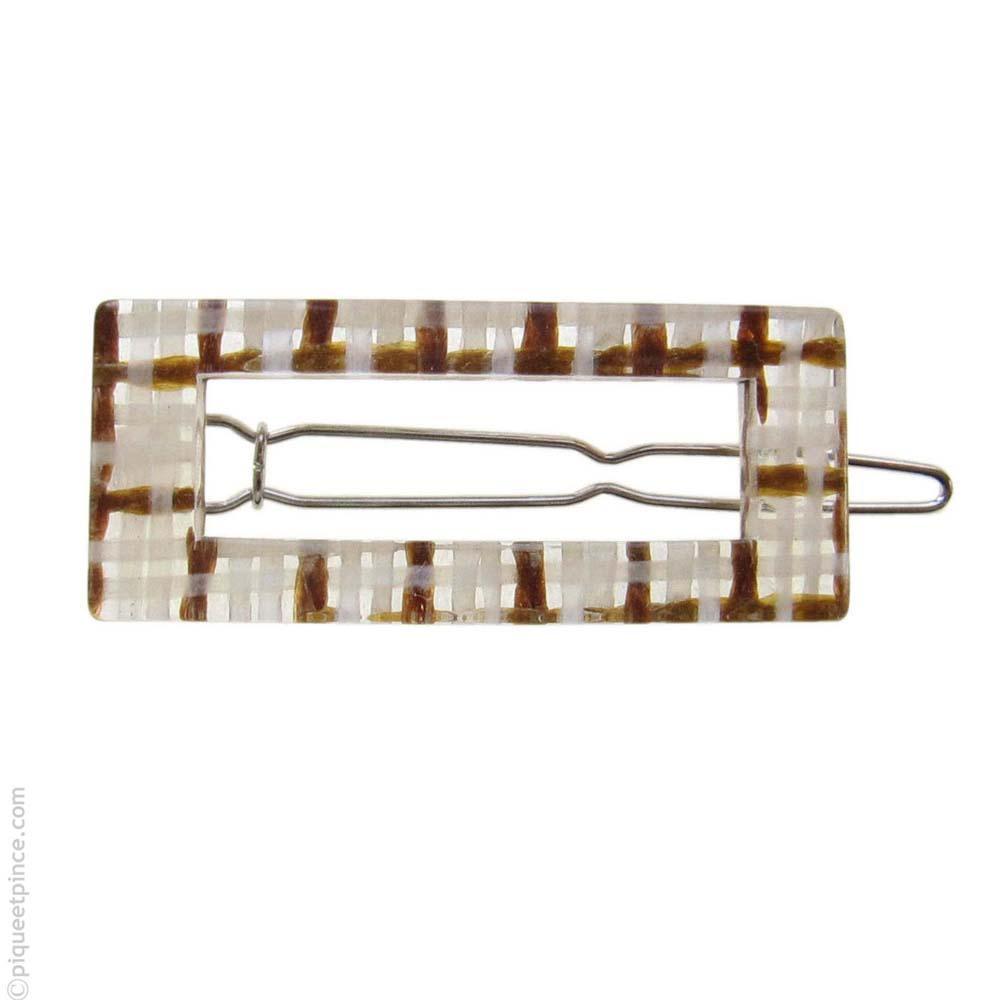 Petite barrette cheveux transparente caramel et  crème
