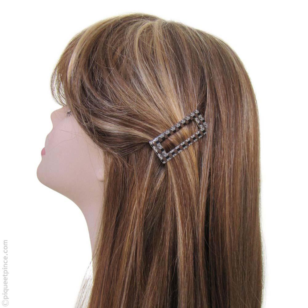 Petite barrette à cheveux marron - crème et noir