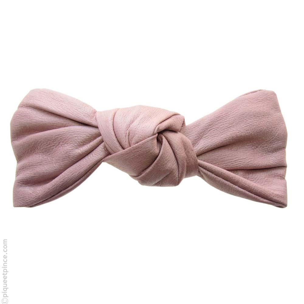 barrette cheveux  rose - noeud  façon cuir