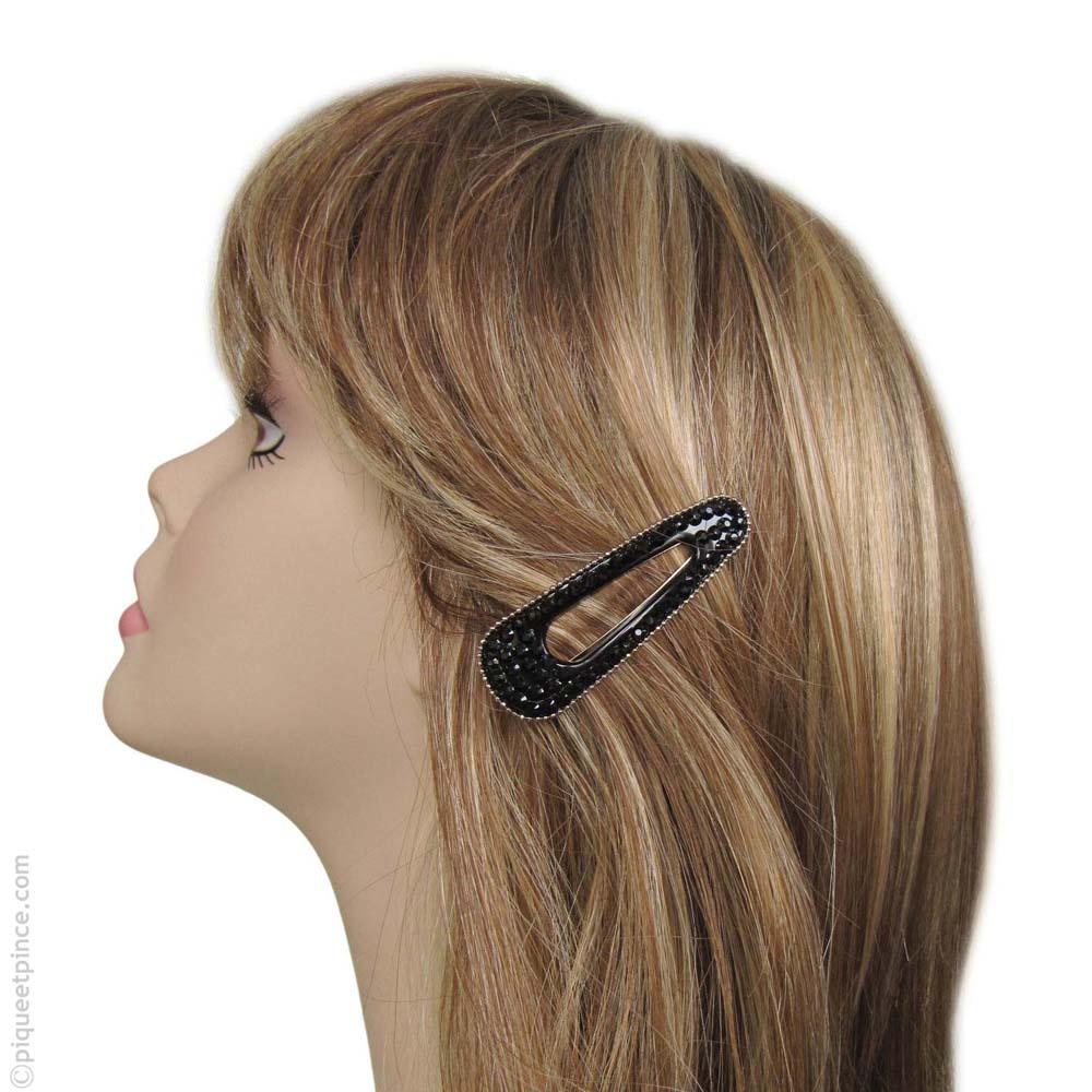 barrette cheveux strass noirs et perles argentées