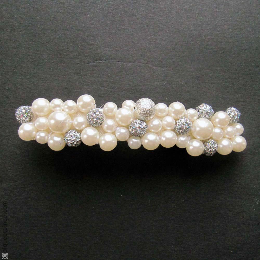 Grande barrette cheveux perles